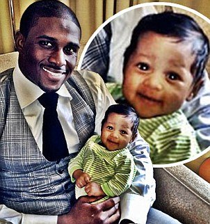 Reggie Bush celebrated his first Father's Day and shared a picture of his month old baby daughter Briseis photo