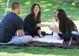 Selena Gomez couldn't keep the smile off her face as she enjoyed a visit from her mother Mandy, step-dad Brian Teefey and her new baby sister