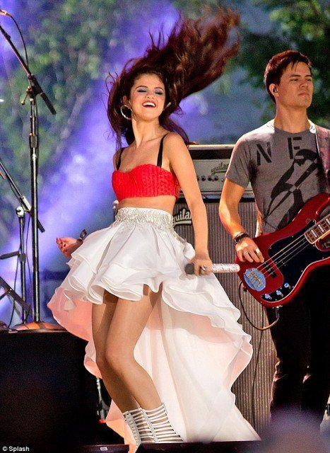 Selena Gomez wore patriotic red, white and blue during a pre-taped concert at Liberty State Park for Macy's Fourth of July Fireworks Spectacular