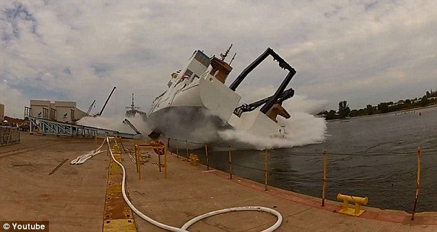 The startling video has created waves online where commentators familiar with the shipping industry have placed the vessel at Marinette shipyard in Wisconsin though the date is unknown photo