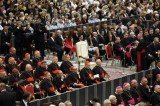 The white papal armchair set up in the presumption that Pope Francis would be there remained empty during Vatican Beethoven concert