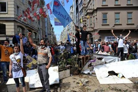 Thousands of people are in Taksim Square after days of unrest sparked by plans to redevelop nearby Gezi Park