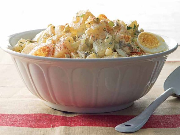 A good old fashioned down home potato salad recipe that brings back memories of 4th of July picnics in the park and family gatherings photo