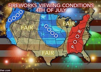 Bad weather is expected to put a dampener on 4th of July celebrations in the south and mid-west with rain and threats of heavy flooding on Thursday