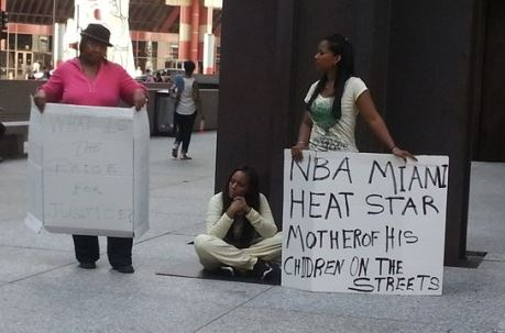Dwyane Wade's ex-wife Siohvaughn Funches has taken to the streets of Chicago carrying a sign saying he has left her homeless