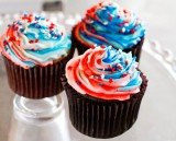 Fourth of July patriotic ice cream cupcakes