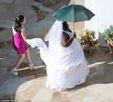 Gabourey Sidibe pranks Jimmy Kimmel as she arrives to his wedding wearing a white dress and veil