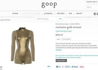 Gwyneth Paltrow is selling a $295 golden wetsuit by Cynthia Rowley on her website Goop