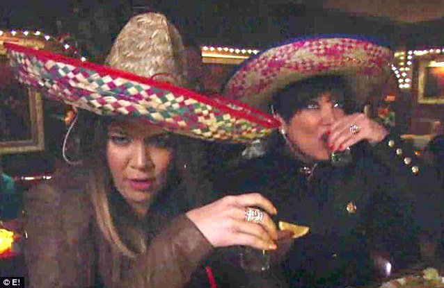 Kris Jenner and Khloe Kardashian seen at a Mexican bar downing shots of tequila photo