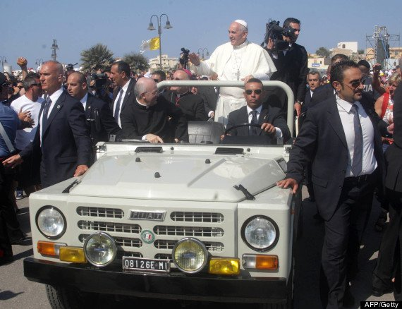 Pope Francis is visiting the tiny island of Lampedusa, where instead of tooling around in the popemobile, he's making his rounds in a borrowed 20-year-old Fiat Campagnola