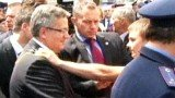 President Bronislaw Komorowski was attacked with an egg by a Ukrainian man when he visited the site of a 1943 massacre of Poles in Ukraine
