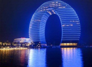The 27-storey Sheraton Huzhou Hot Spring Resort, looms over the skyline of Huzhou, near Shanghai
