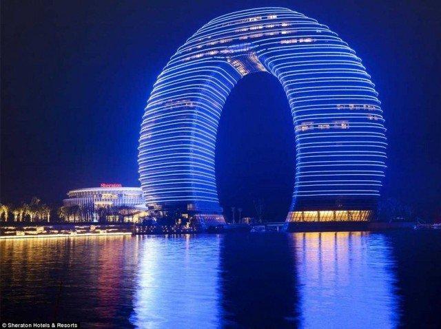 The 27-storey Sheraton Huzhou Hot Spring Resort, looms over the skyline of Huzhou, near Shanghai