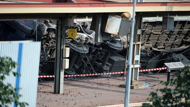 The French train crash which left six people dead may have been caused by a fault in the rail tracks photo