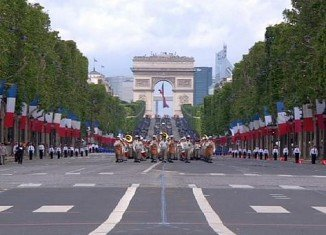 The July 14 celebrations, marking the start of the French Revolution in 1789, traditionally include an annual military parade on the Champs Elysees in Paris