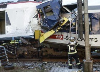 Two trains have collided in western Switzerland injuring at least 40 people have been injured