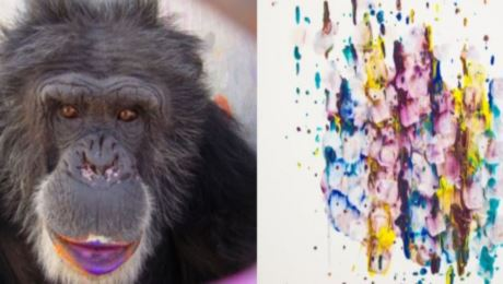 Brent created a delicate vibrantly colored work featuring daubs of violet blue and yellow on paper photo
