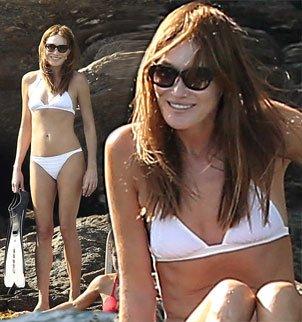 Carla Bruni showed off her enviable figure in white bikini in Cap Negre photo
