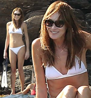 Carla Bruni showed off her enviable figure in white bikini in Cap Negre photo