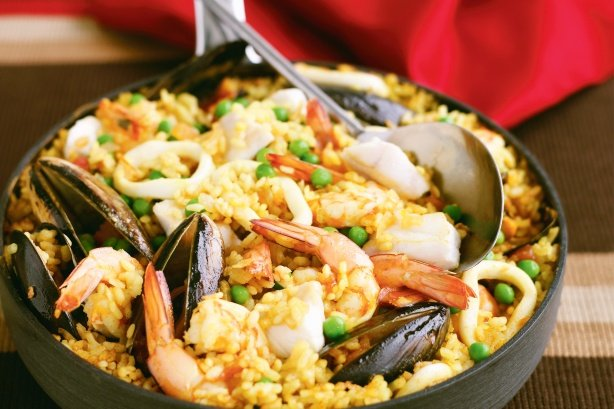 Classic seafood paella photo