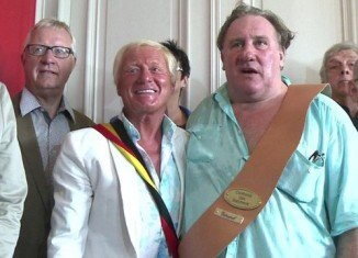 Gerard Depardieu has thrown a big housewarming barbecue in Belgium