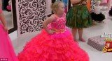 Honey Boo Boo relived her pageant days by trying on garish bridesmaids dresses for Mama June's wedding