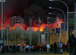 Huge fire has broken out at Jomo Kenyatta International Airport in Nairobi