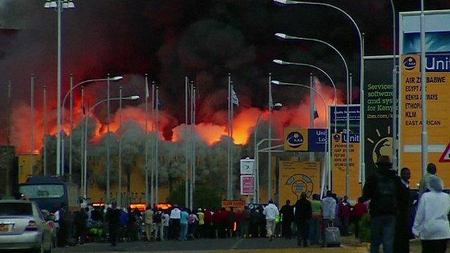 Huge fire has broken out at Jomo Kenyatta International Airport in Nairobi