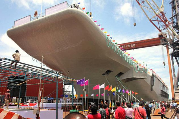 India has launched its first indigenous aircraft carrier from a shipyard photo