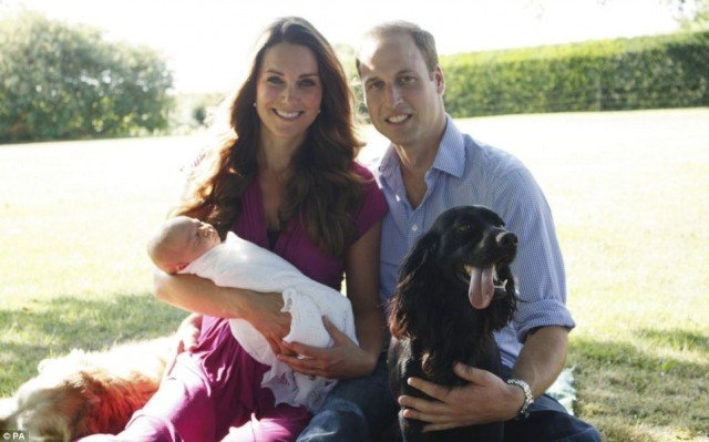 Kate Middleton with Prince William and baby George joined by retriever Tilly and cocker spaniel Lupo