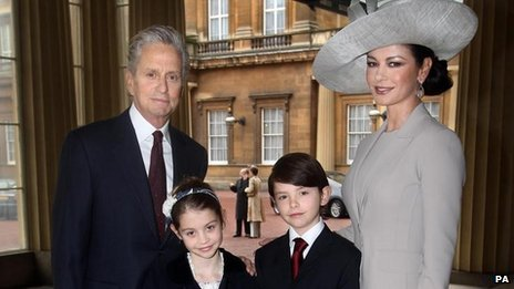 Michael Douglas and Catherine Zeta Jones had their first child in August 2000, and married three months later in a lavish ceremony at New York's Plaza hotel