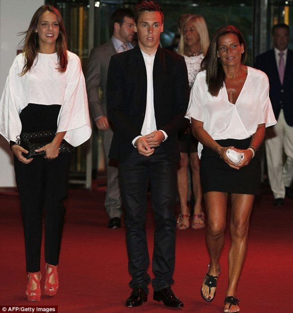 Pauline Ducruet, brother Louis, and their mother Princess Stephanie of Monaco at the Summer Monaco Fight AIDS Gala