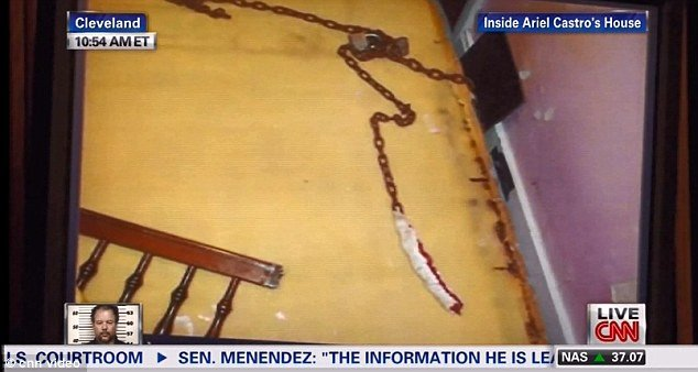 Pictures from inside Ariel Castro's house were shown today in court as the Cleveland abductor is to be sentenced photo