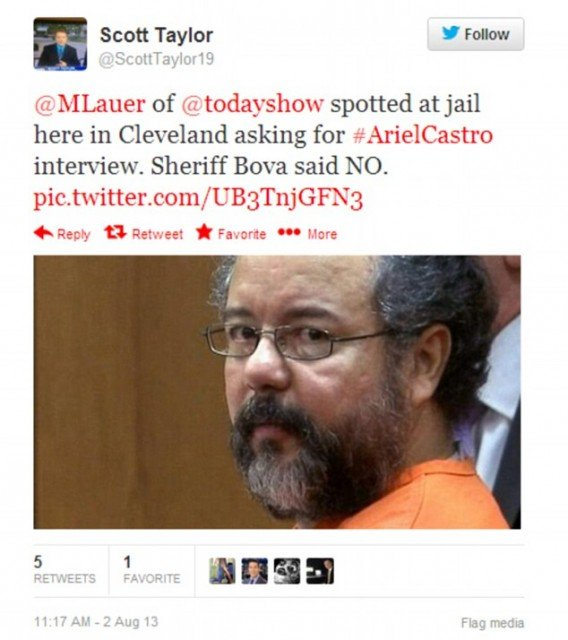 Scott Taylor first tweeted news of Matt Lauer's failed Ariel Castro interview attempt