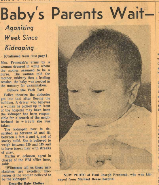 The FBI has reopened an investigation into the disappearance of Paul Fronczak a newborn boy stolen from a Chicago hospital in 1964 552x640 photo