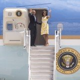 The First Family departed The Disabled American Veteran National Convention in Florida for their annual eight-day vacation on Martha's Vineyard
