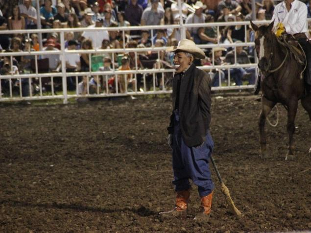 The unidentified rodeo clown sparked outrage after impersonating Barack Obama at the Missouri State Fair