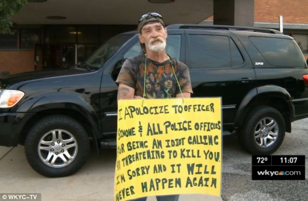 "An Ohio judge has forced Richard Dameron to stand outside a police station wearing a sign referring to himself as an ""idiot"" for calling 911 and threatening to kill officers"