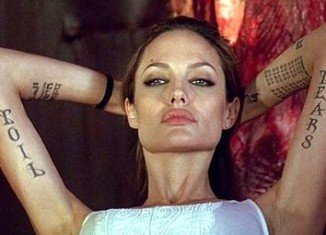 Angelina Jolie is one of the most tattooed actresses in Hollywood, with an estimated 17 different designs