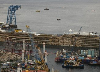 Costa Concordia cruise ship was finally pulled upright after a dramatic 19-hour salvage operation