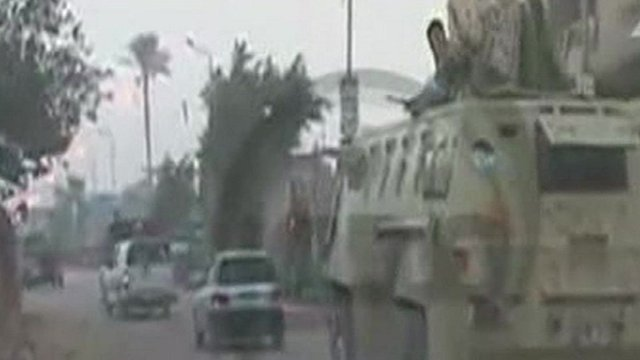 Egyptian soldiers have clashed with militants after entering Kerdasa a town near Cairo photo