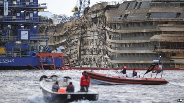 Engineers have succeeded in setting the cruise ship Costa Concordia upright