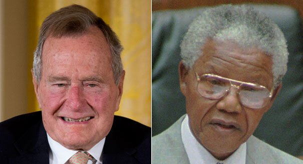 Former President George H.W. Bush announced Nelson Mandelas death after his spokesman misread news flash photo