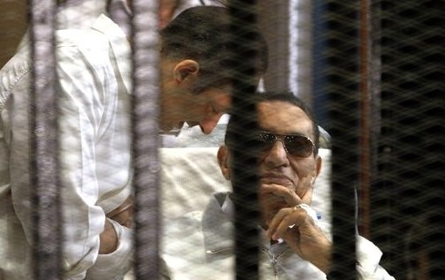 Hosni Mubarak appeared in court on charges of complicity in the killing of protesters during the 2011 uprising photo