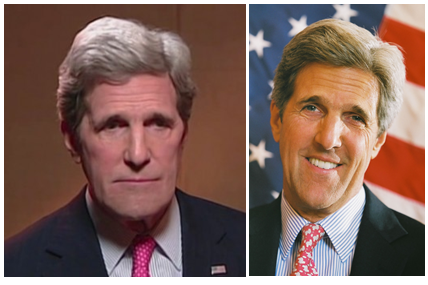 John Kerry's eyes seemed less droopy than usual and his entire face seemed somehow wider photo
