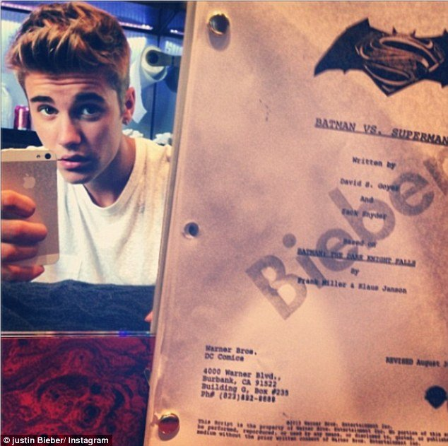 Justin Bieber posted a photo of his very own copy of the Batman Vs. Superman script photo