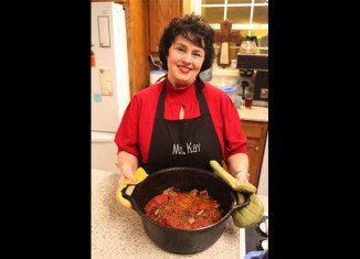 Miss Kay Robertson uses eight cubed steaks in her Swiss steak recipe and cuts them into smaller pieces to be served on rice