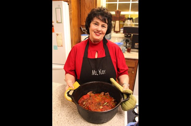 Miss Kay Robertson uses eight cubed steaks in her Swiss steak recipe