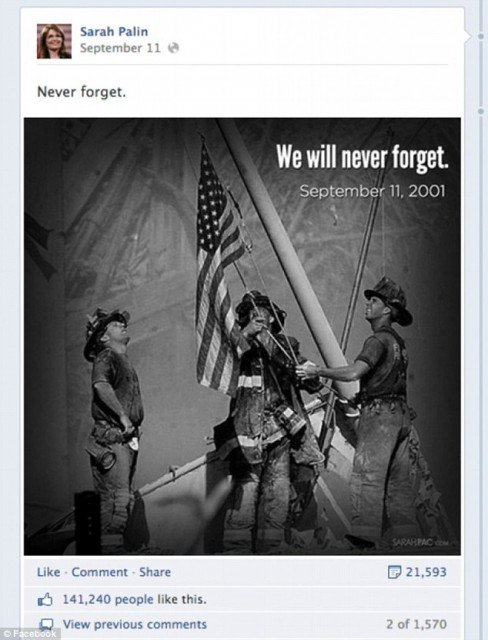 North Jersey Media Group Inc. is suing Sarah Palin and her political action committee for a copyright infringement over the use of an iconic 9 11 photo 488x640 photo