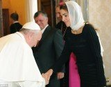 Pope Francis has once again shown his willingness to break with tradition by bowing to Muslim royal Queen Rania of Jordan